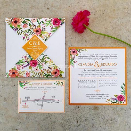 Invitación 4 punta flores
