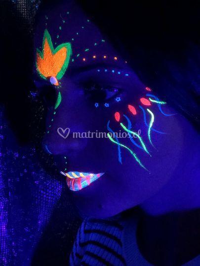 Maquillaje fluor + glitter y s