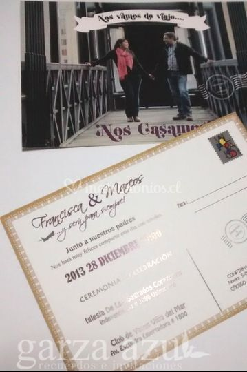 Invitación postal foto novios
