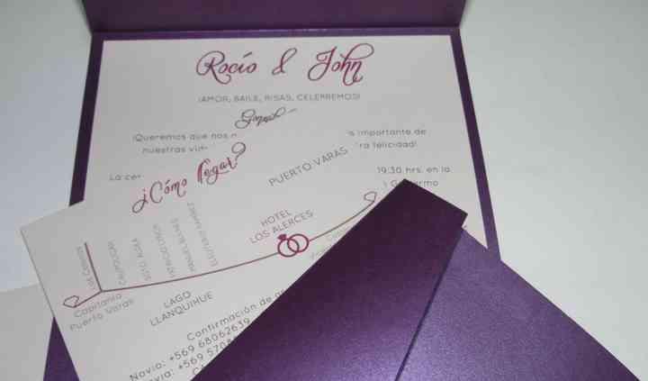 Invitación triptico purpura
