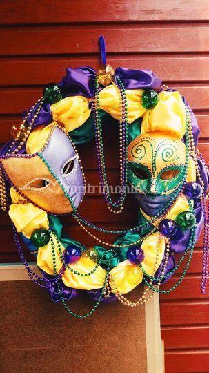 Decoración estilo Mardi Gras