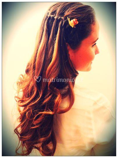 Peinado trenza cascada novia