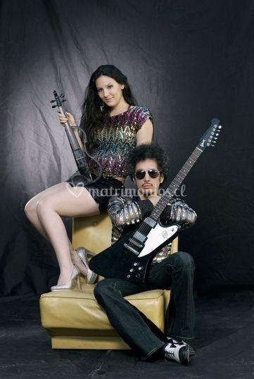 Violín y guitarra eléctrica