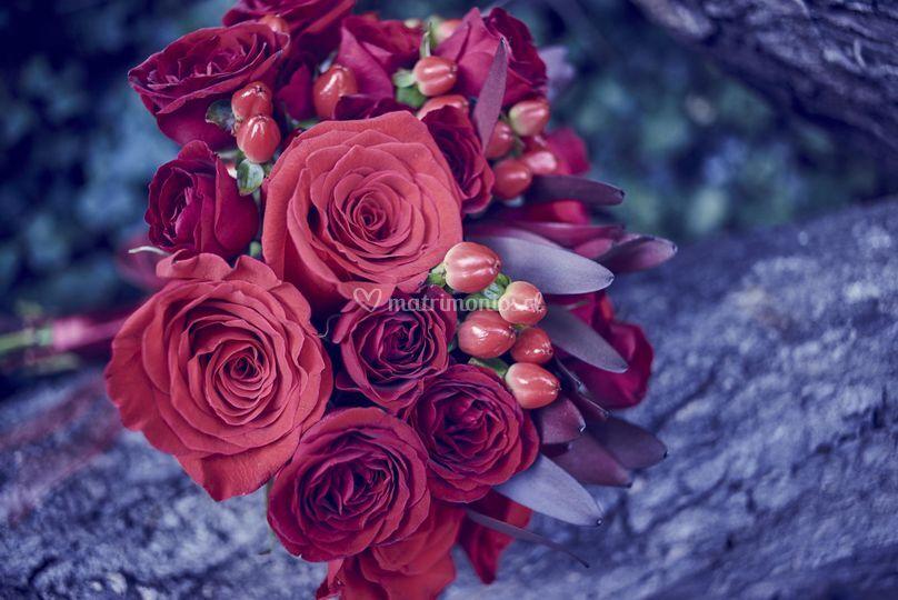 Ramo novia flores rojas