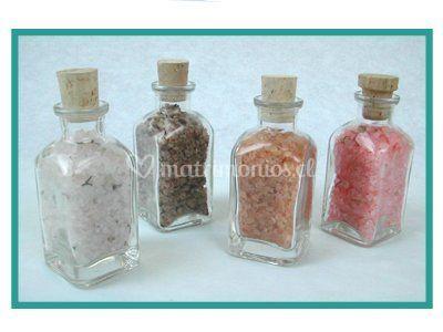 Sales de baño en frascos