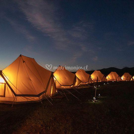 Camping iluminado real