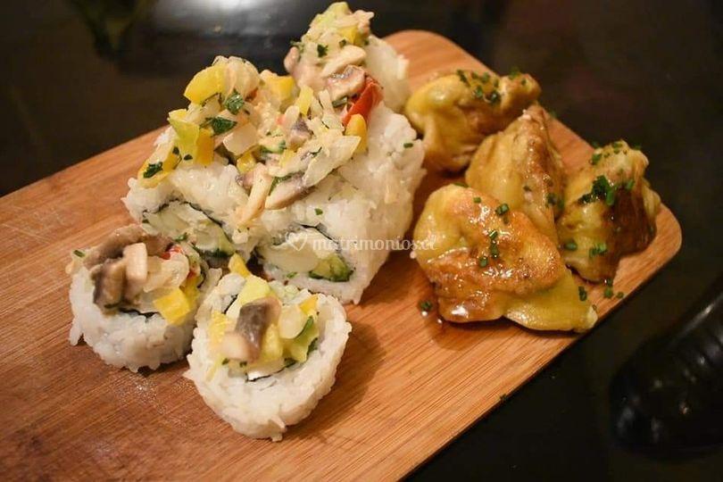 Sushi y gyosas al vapor