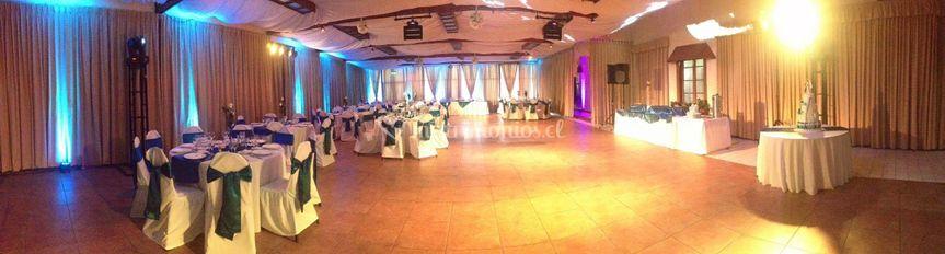 Fiesta de bodas en panorámico