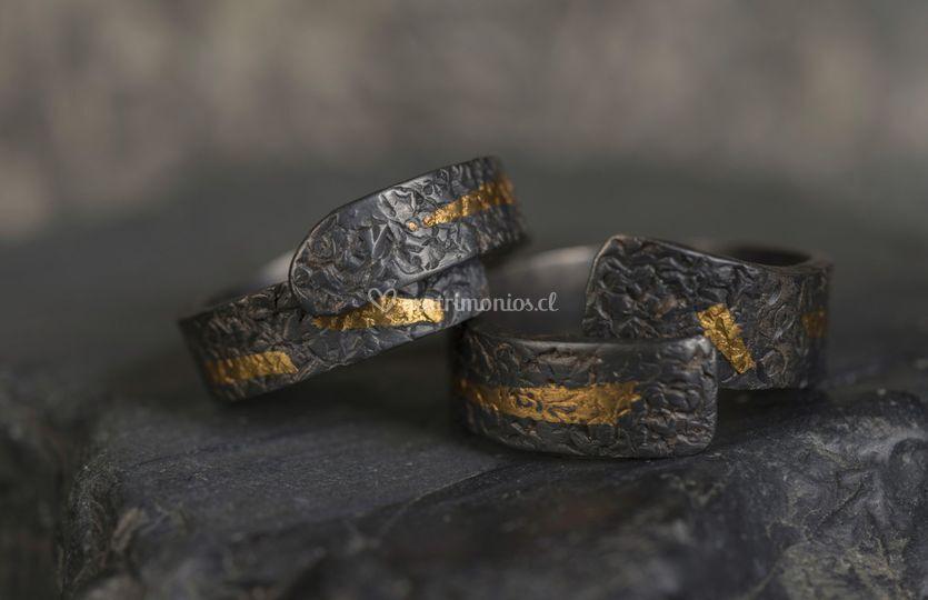 Argollas de plata y oro puro