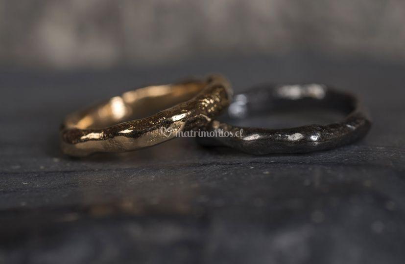 Argollas sol oro 18 y plata