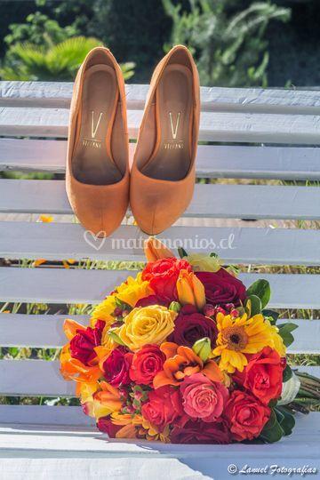 Zapatos y ramo