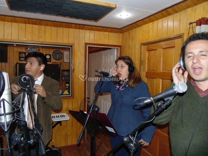 En estudio de grabación