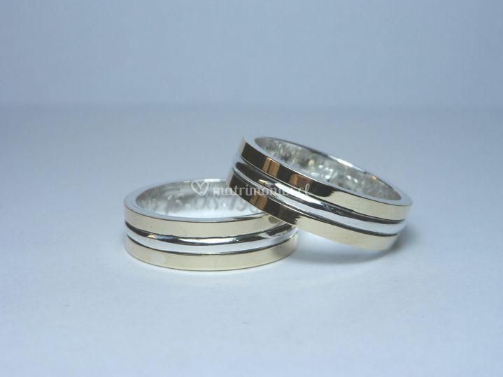 Argollas de oro y plata fina