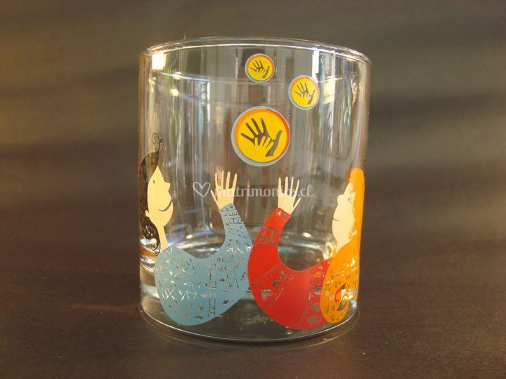 Vaso whisky con diseño a color
