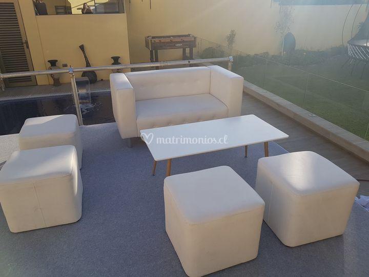 Set sillón 2 cuerpos blanco