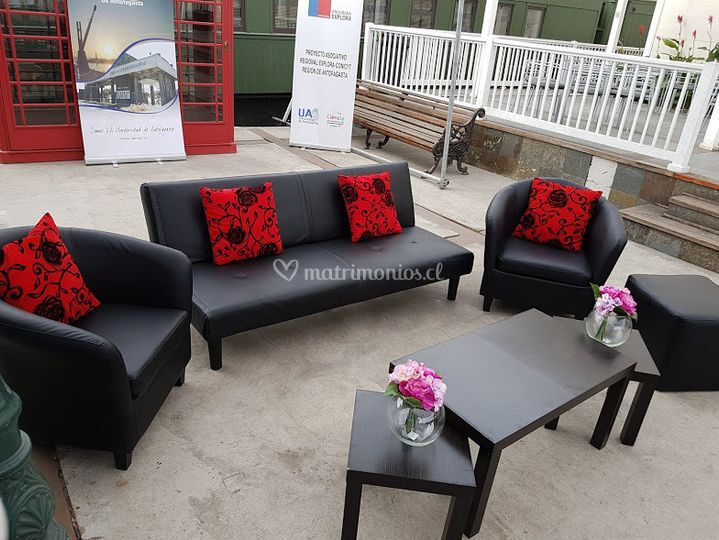 Set lounge en negro rojo
