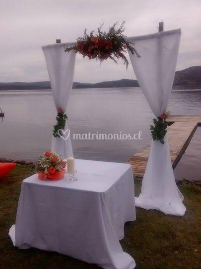Arco boda civil lago vichuquen
