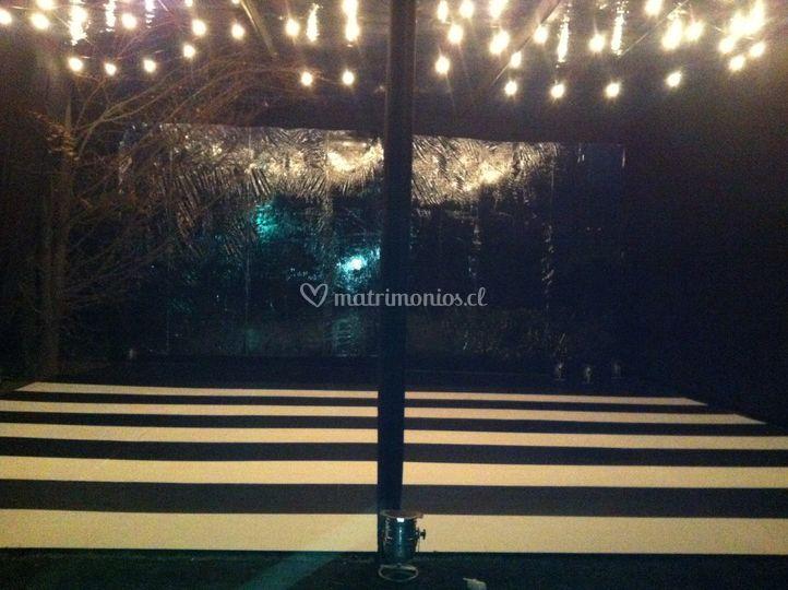 Carpa en techo transparente