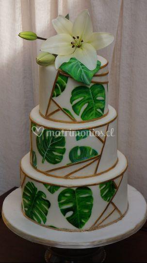 Torta lilium y trendy leaf