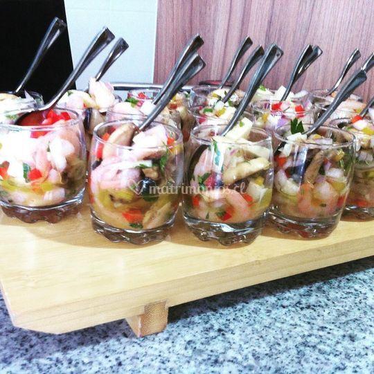Ceviche de palmitos y camarón