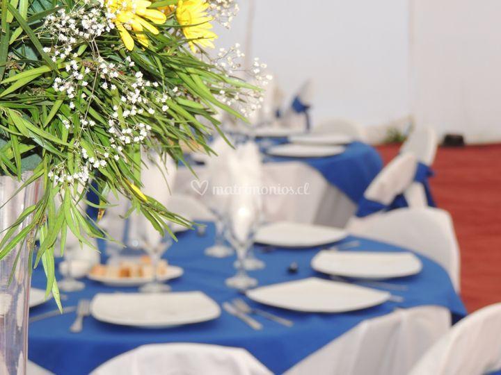 Mesas en azul