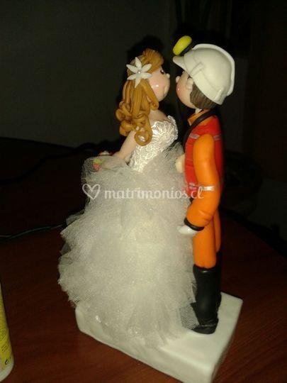 Novia princesa con minero