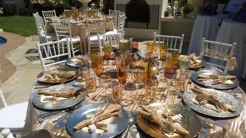 Detalles de la decoración de las mesas