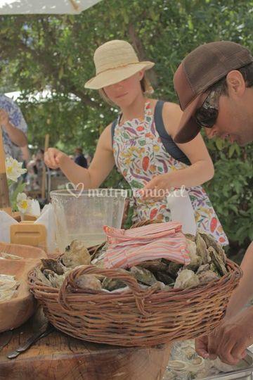Preparando las ostras