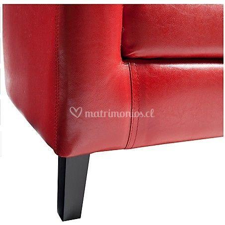 Poltrona redonda cuero rojo