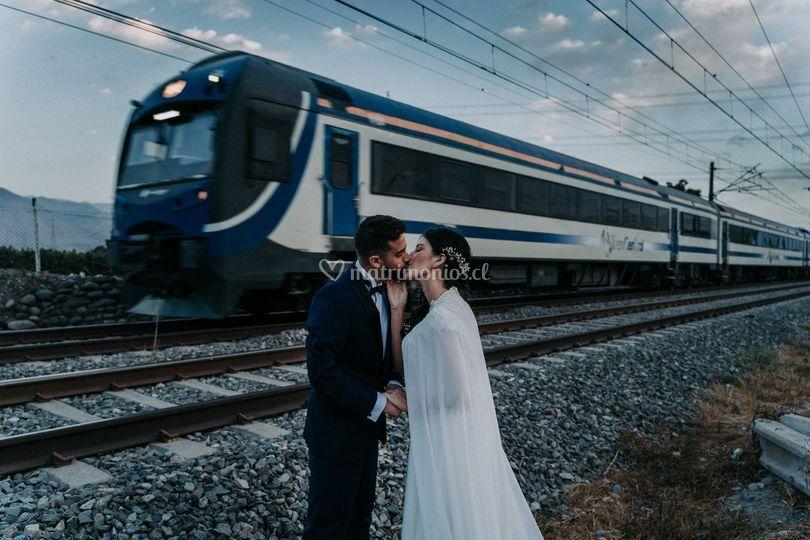 Beso en el tren