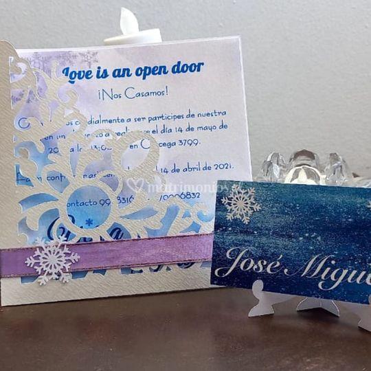 Invitación y letrero para mesa