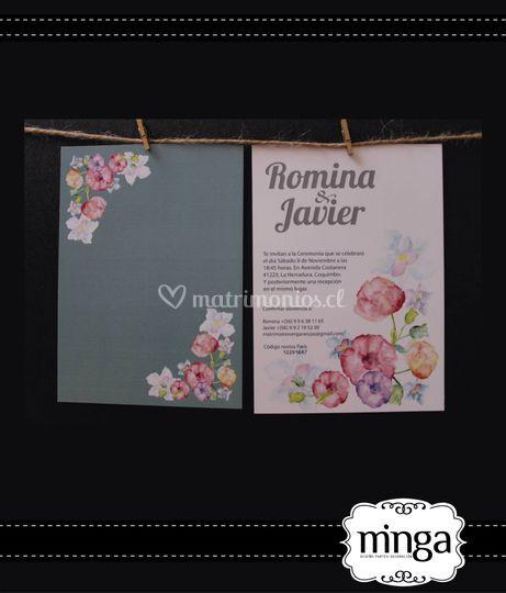 Invitación bicolor con flores