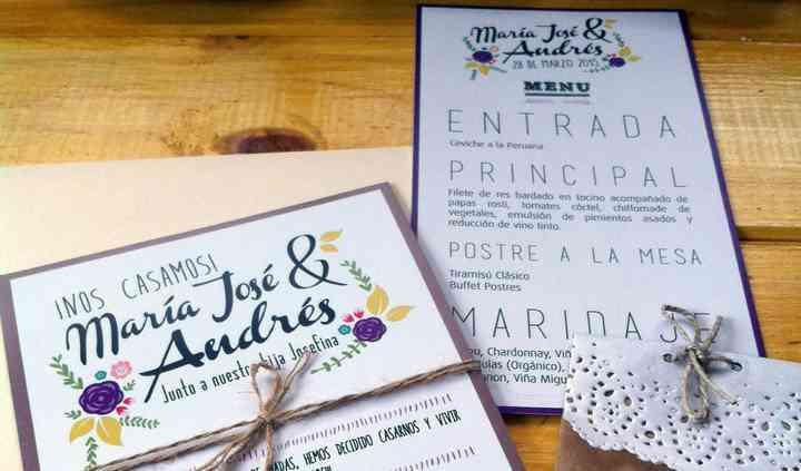 Invitacion, menú y souvenir