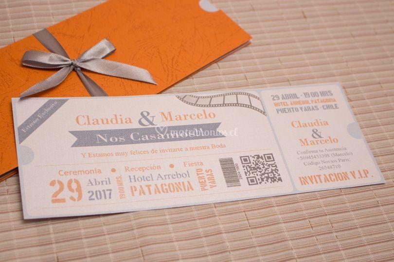 Invitación tipo ticket