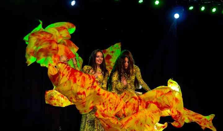 Danza árabe abanicos de seda