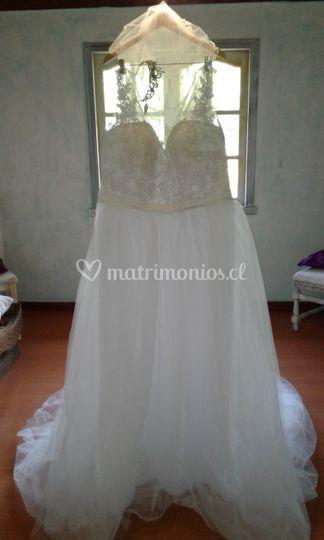 Vestido 48, blanco tul  encaje