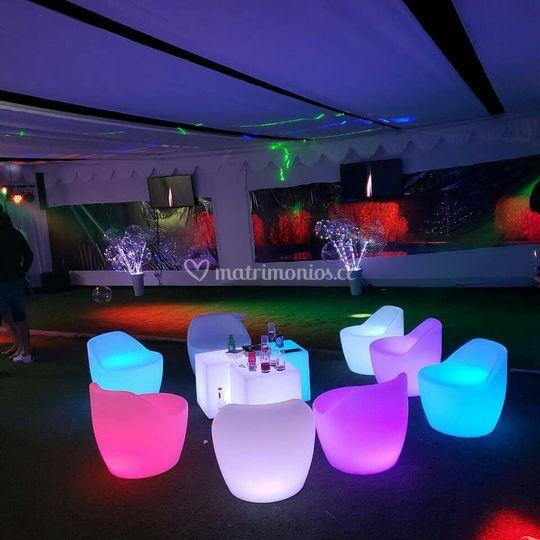 Mesas y sillas led