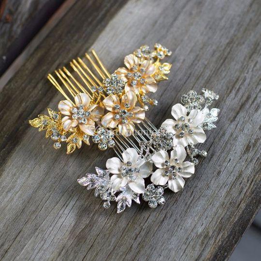 Peineta flor crystal