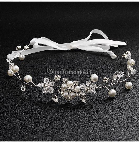 Tocado flexible flor/perla