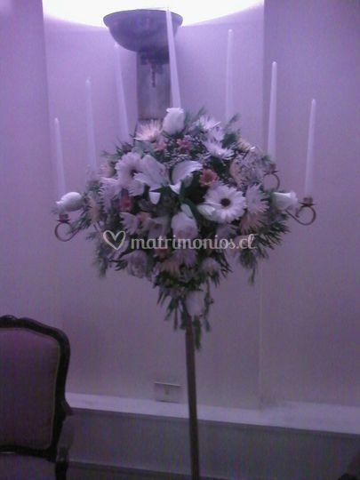 Pedestal floral 7 velas