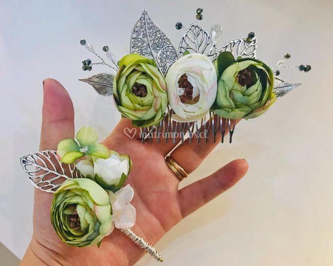 Tocado floral y botonier