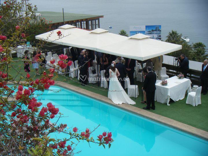 Matrimonio ideal en la terraza