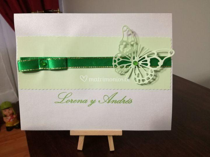 Parte boda mariposa verde