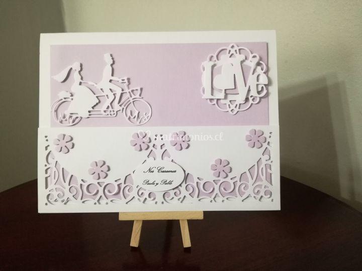 Parte boda novios bicicleta