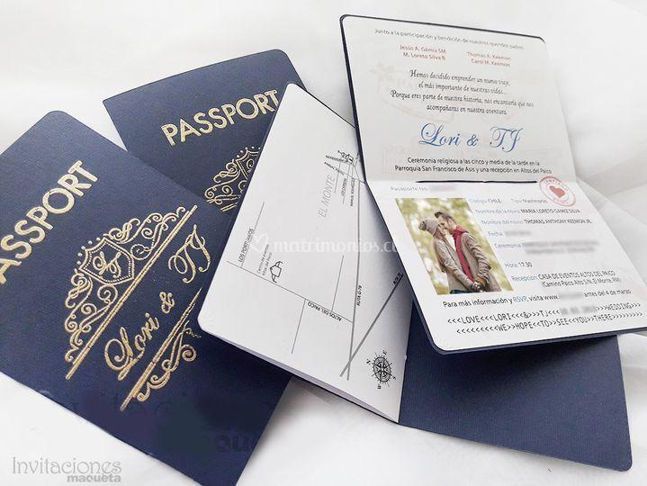 Pasaportes con dorado