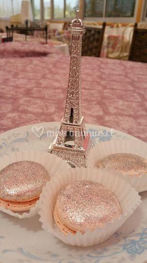 Macarons rosa plateados