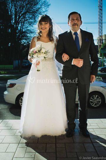 La novia junto a su padre