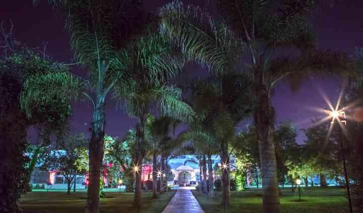 Entrada con palmeras