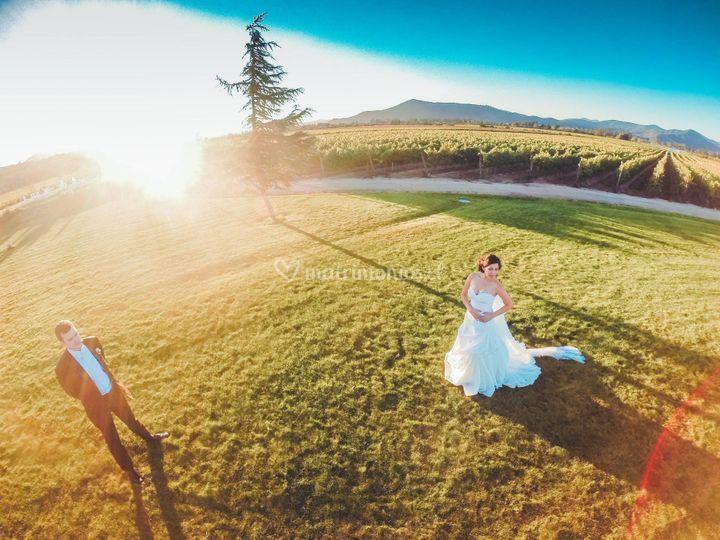 Atardecer y los recién casados