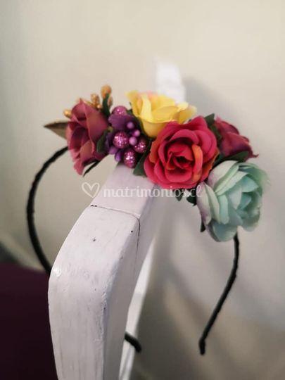 Cintillo flores de seda
